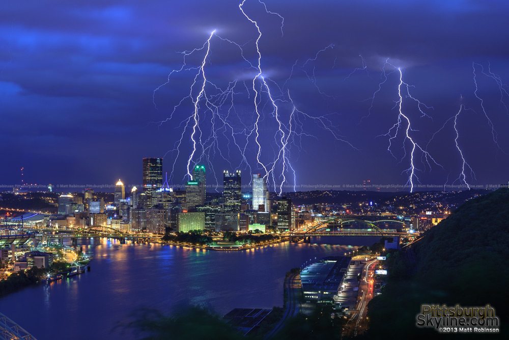 Multiple Lightning strikes over the City of Pittsburgh