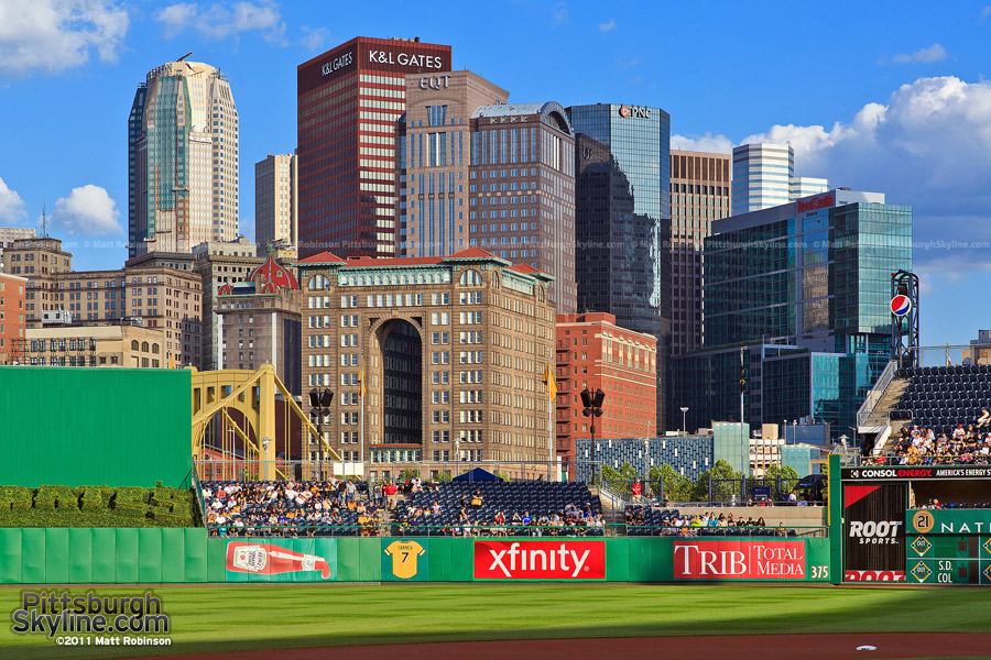 Pittsburgh Skyline from the third base line at PNC Park