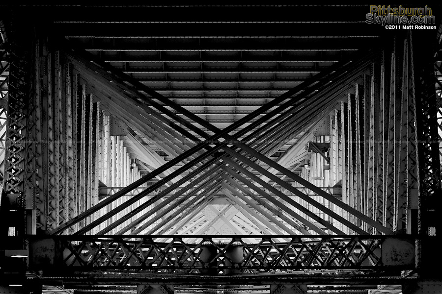 Structural X-bracing underneath the Liberty Bridge, Pittsburgh