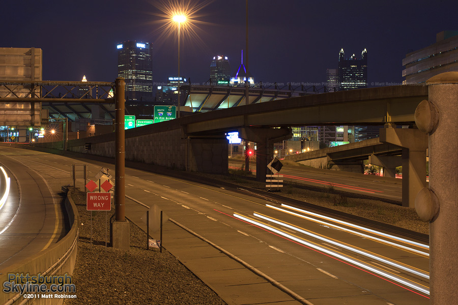 Route 65 at night with Pittsburgh