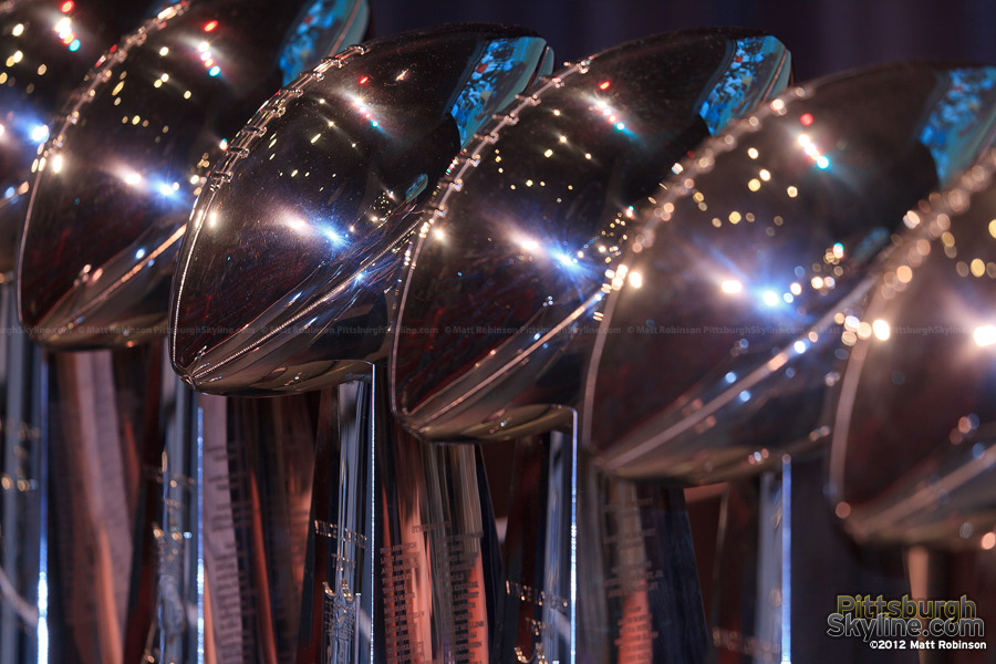 Close up of Lombardi Trophies