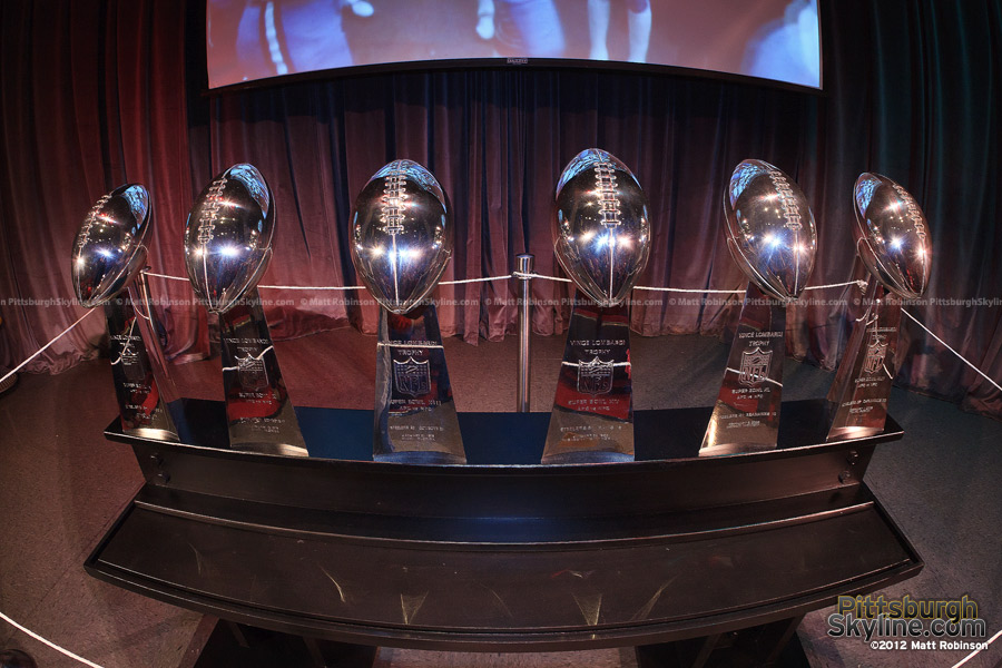 Fisheye of the Pittsburgh Lombardi Trophies