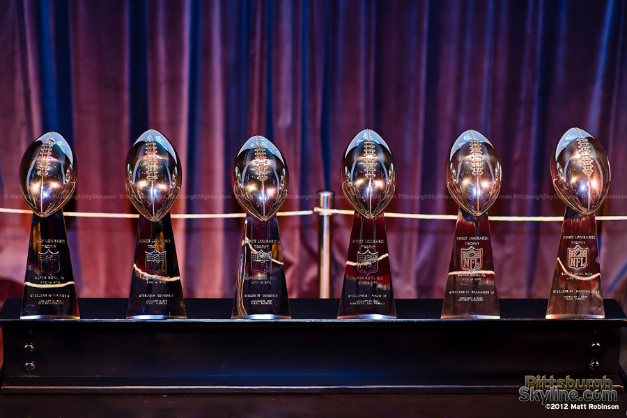 Pittsburgh Steelers Vince Lombardi Trophies on display