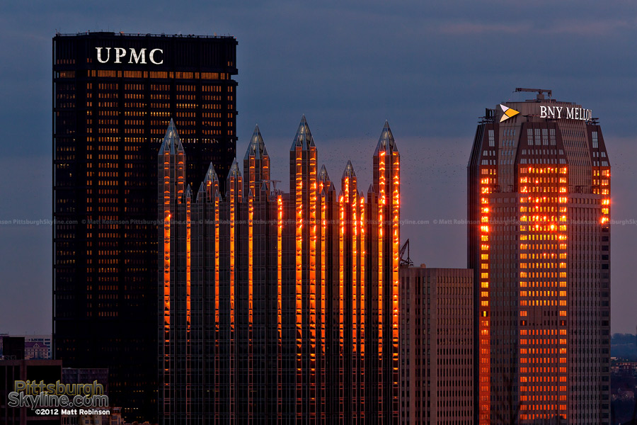 PPG Place and BNY Mellon Center reflect the sun