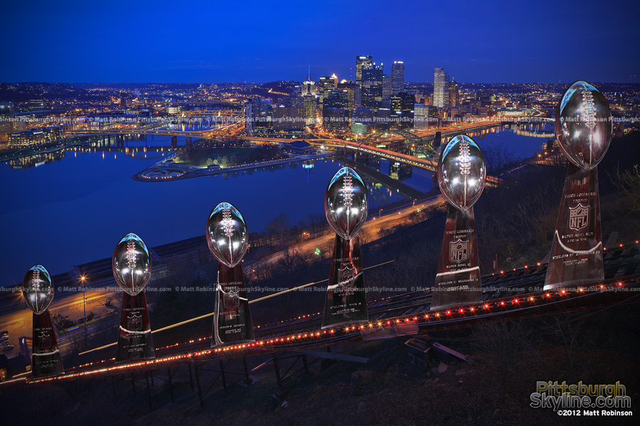 Pittsburgh Skyline with Superbowl trophies up the Duquesne Incline