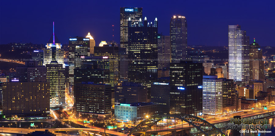 Pittsburgh's Golden triangle at night
