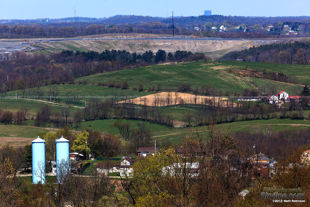 The US Steel building peeks over Western Pennsylvania hilltops from Scenery Hill (25 miles away)