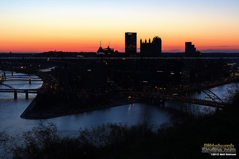 Pittsburgh Skyline seen before sunrise