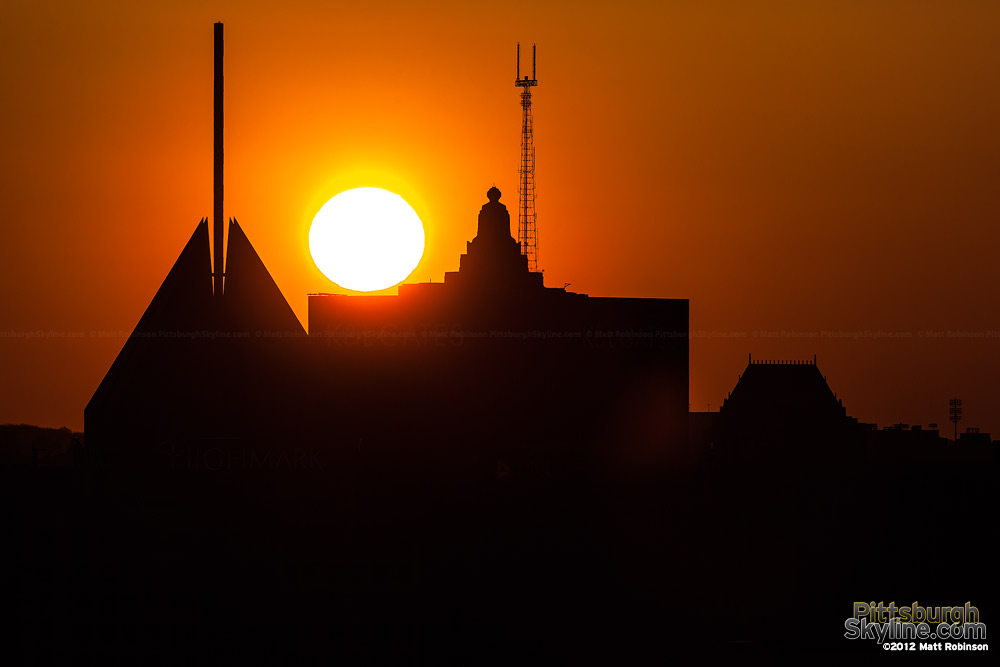 The sun rises over Fifth Avenue Place, Gulf Tower and K&L Gates Center in Pittsburgh