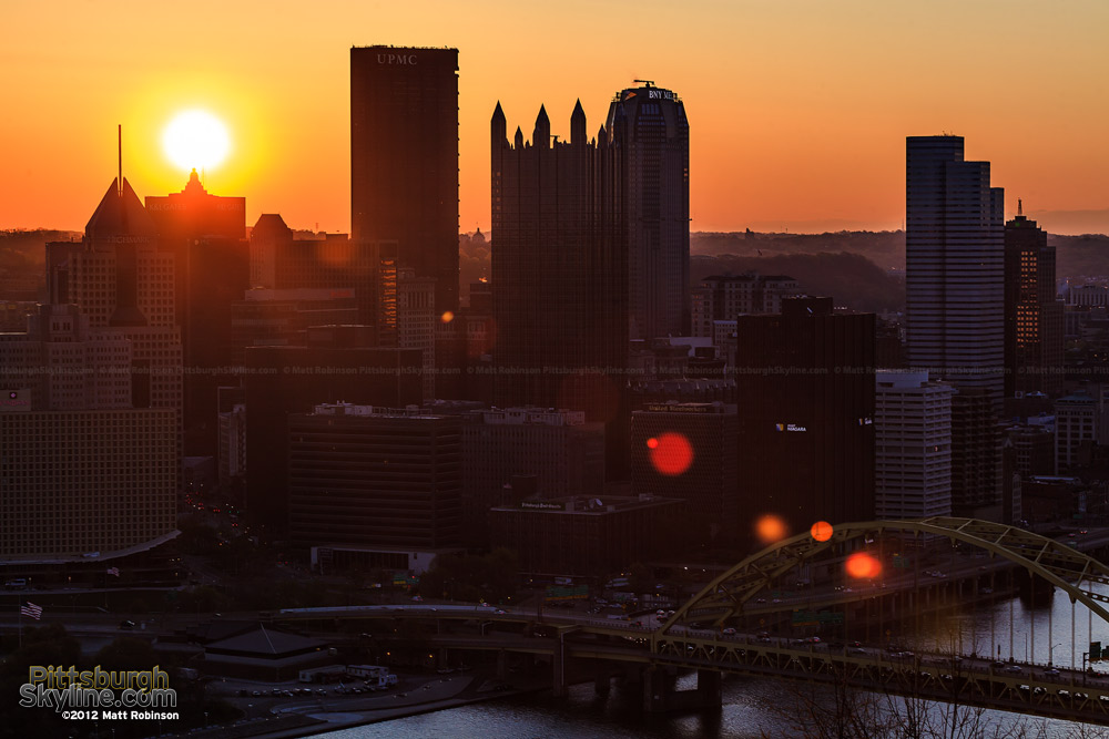 Pittsburgh sunrise over the skyline