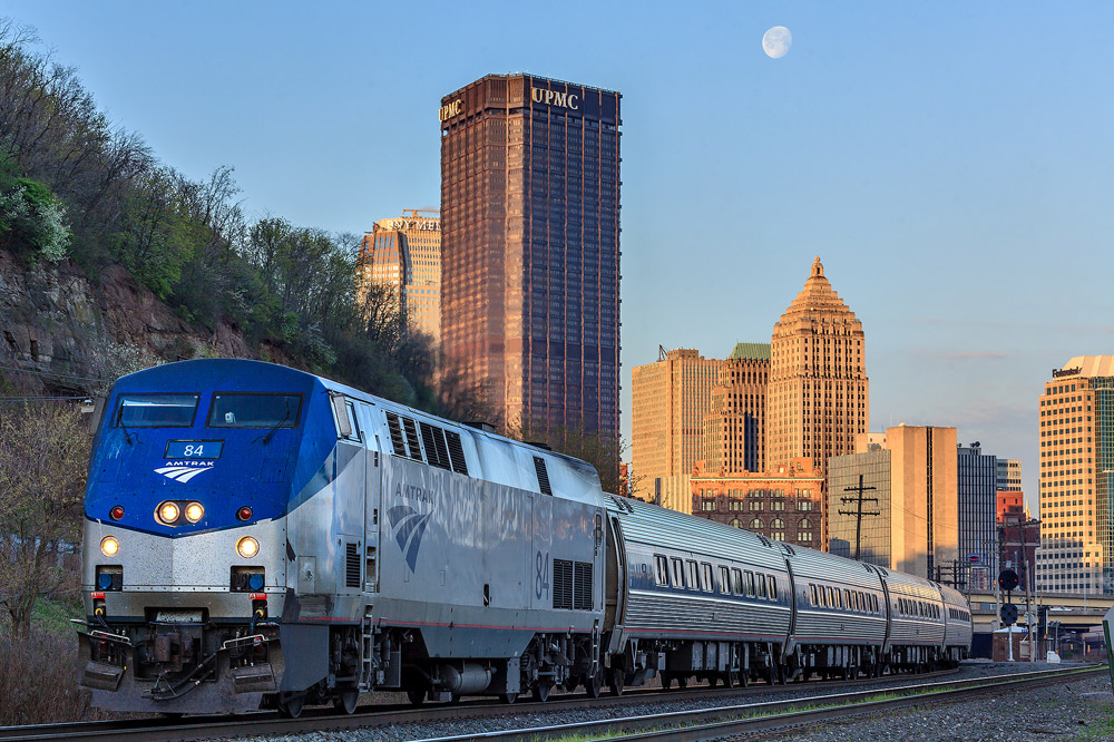 Amtrak's Northeast Regional Service leaves downtown Pittsburgh