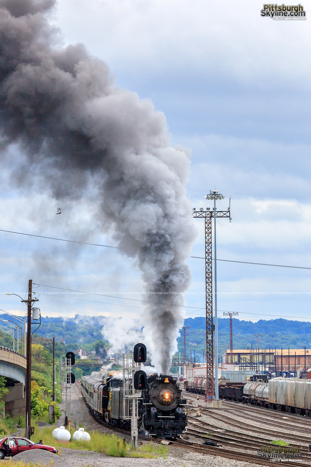 Steam Locomotive NKP 765 leaves Conway Yard