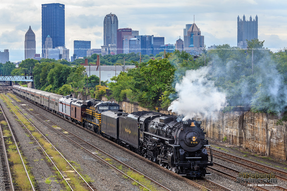 Steam Engine NKP 765 on the North Side with Pittsburgh Skyline