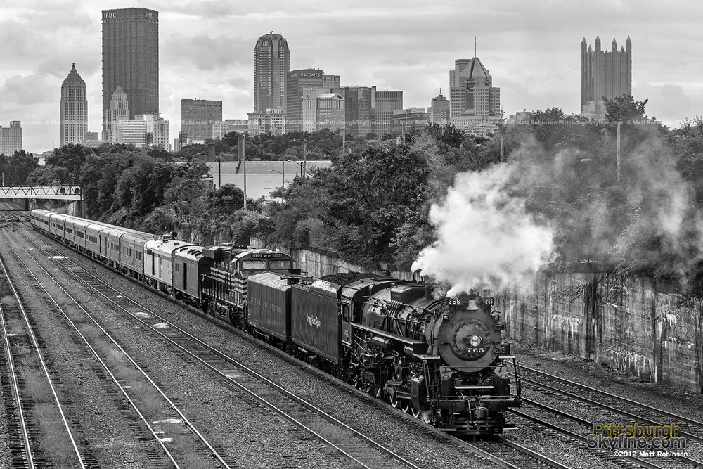 Black and White Pittsburgh Skyline with Steam Train 765