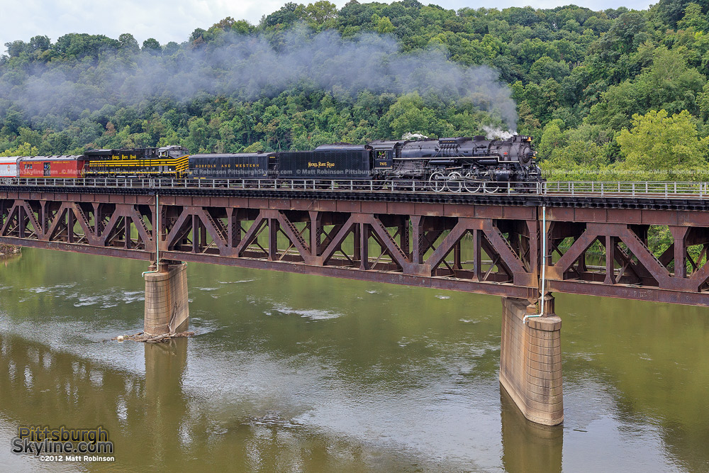 NKP 765 Crosses over the Beaver River at Beaver Falls, PA