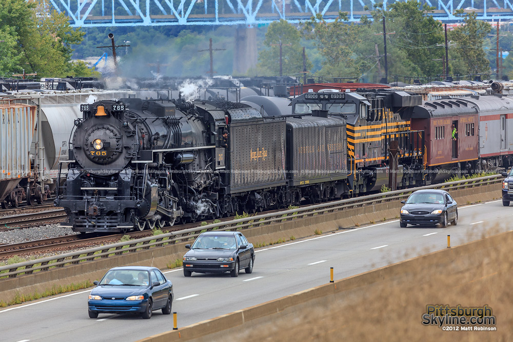 Steam Locomotive 765 rolls into Conway Yard in Conway, PA