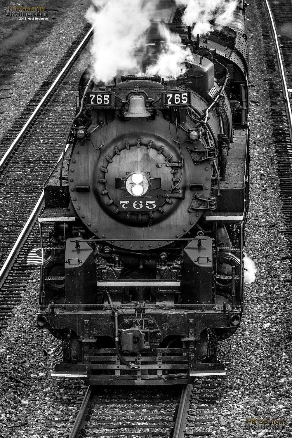 Black and white of NKP 765