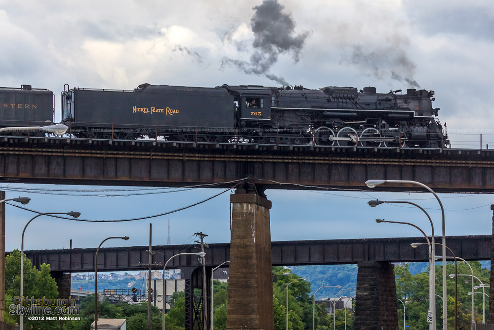 NKP 765 moves the OC Bridge in Pittsburgh from below