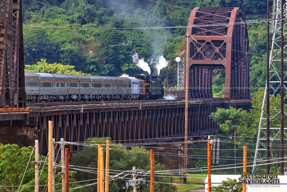 Steam engine crosses the OC Bridge
