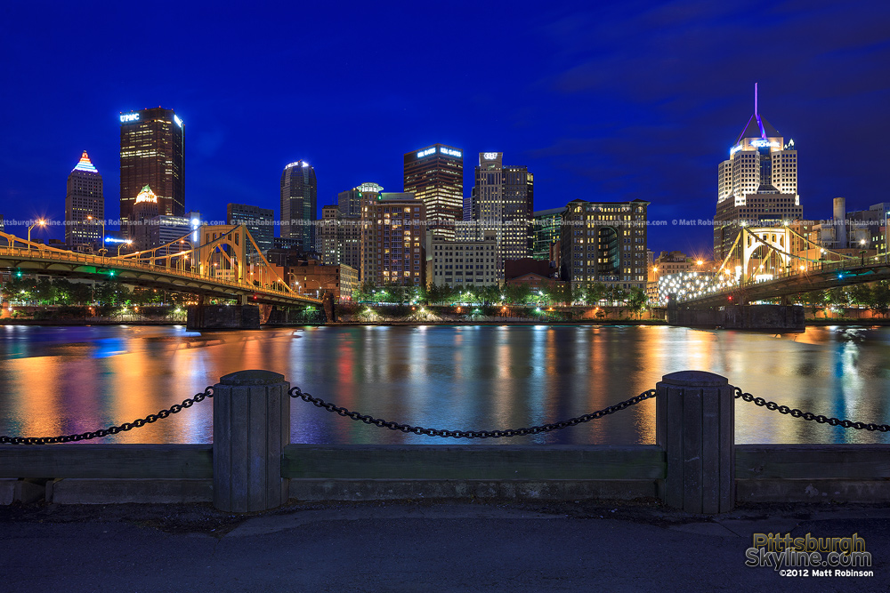 Three Rivers Heritage Trail view of Pittsburgh at night