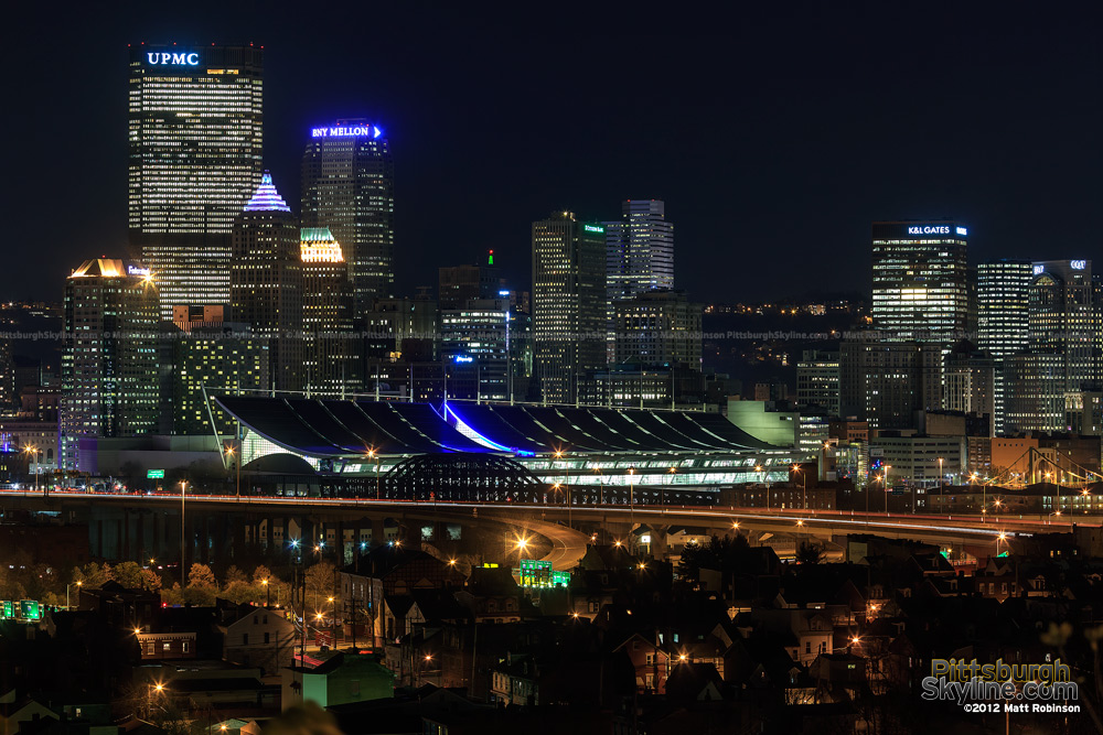 Troy hill view of downtown Pittsburgh on Light Up Night