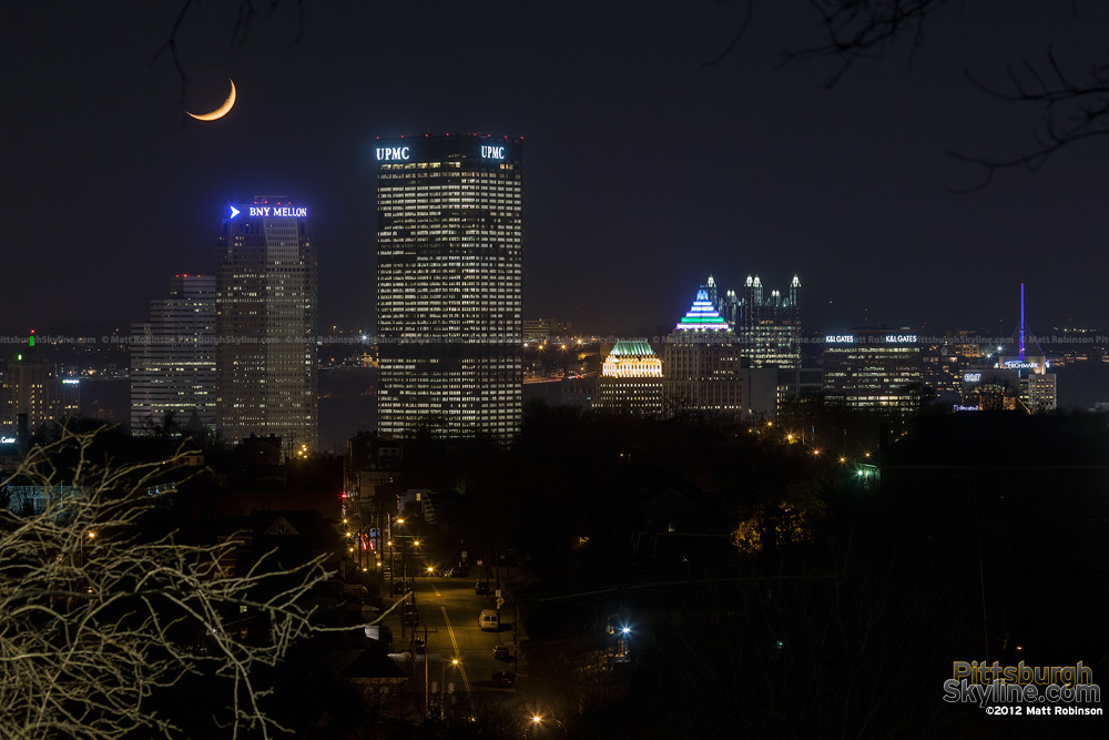 Moon set from Herron Hill on Pittsburgh Light Up Night