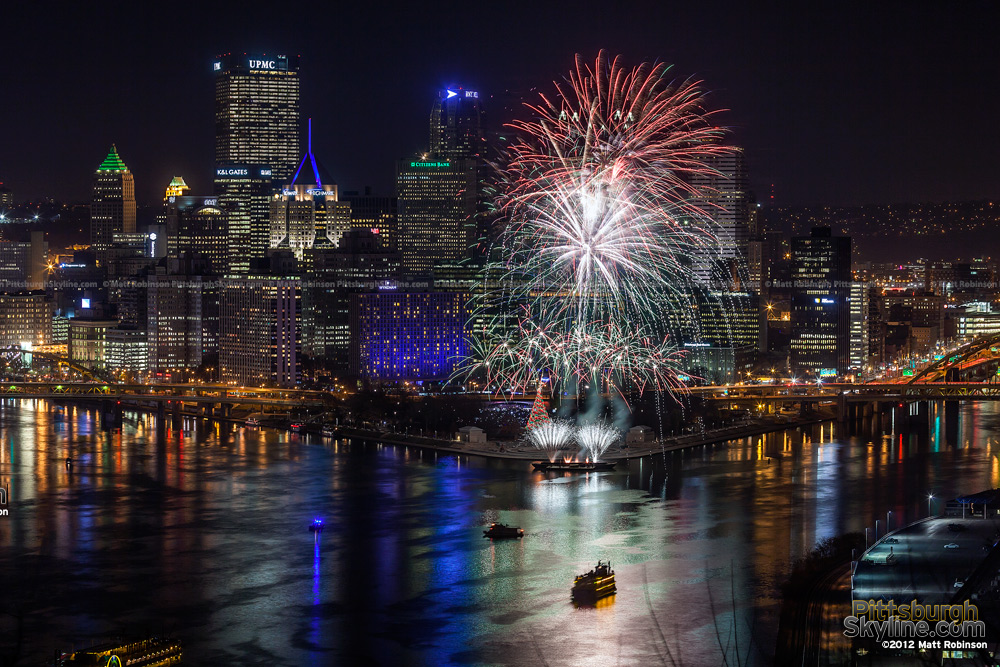 Fireworks over Pittsburgh on Light Up Night 2012