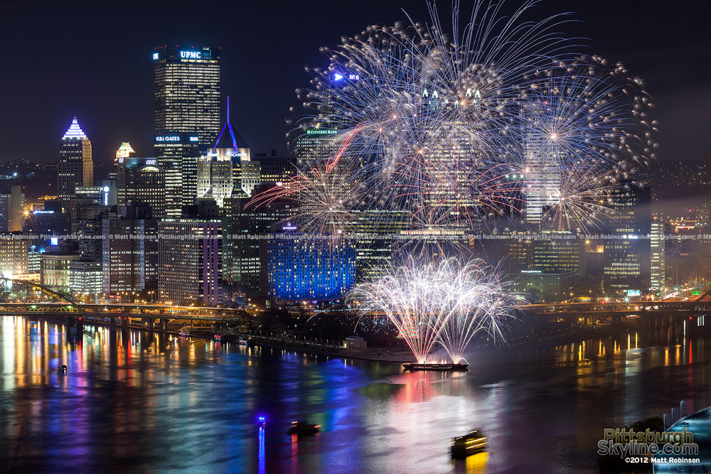 Light Up Night Celebration Pittsburgh Skyline with Fireworks