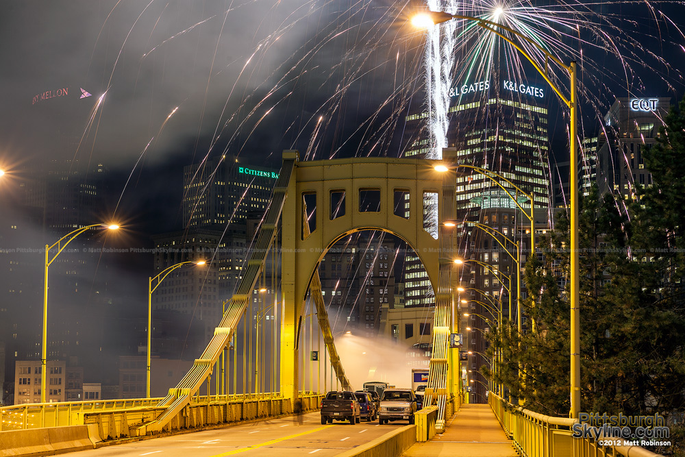 Fireworks launch from Pittsburgh's Seventh Street Bridge