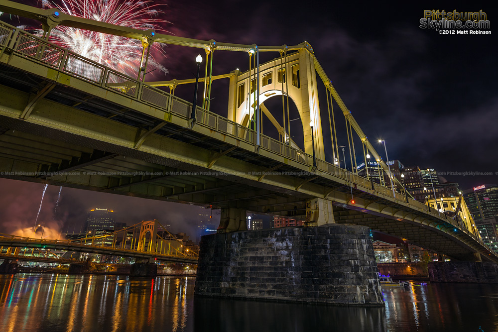 Roberto Clemente Bridge during light up night