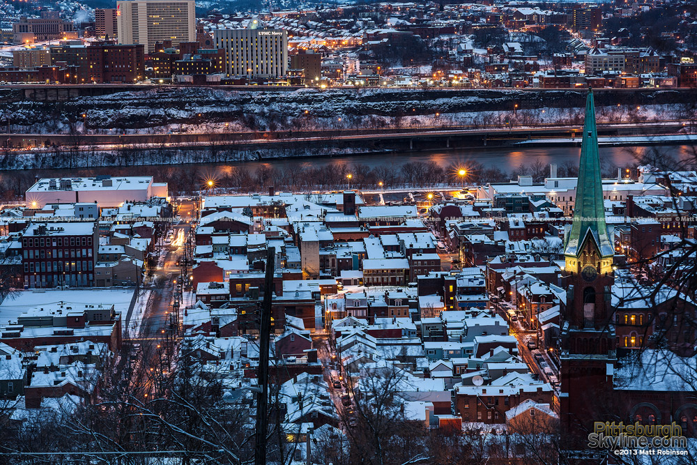 Snow covers Pittsburgh South Side Rooftops