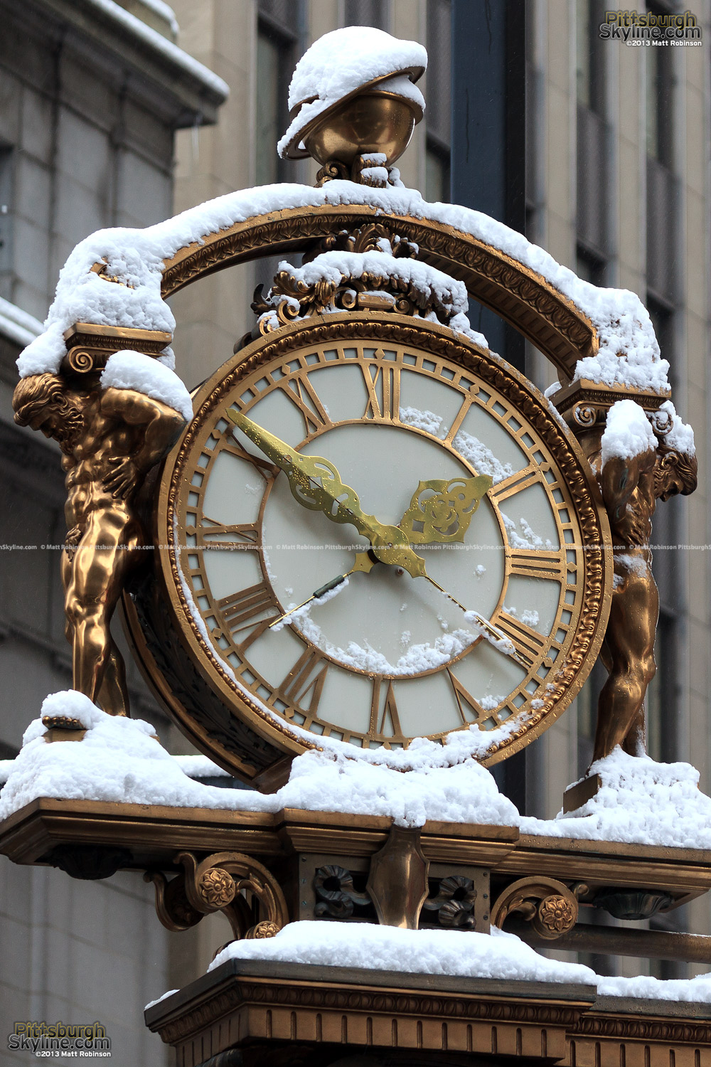 Snow covering the Kaufmann's Clock
