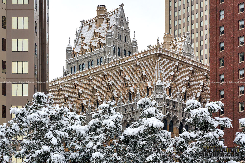 Snowfall on the Union Trust building