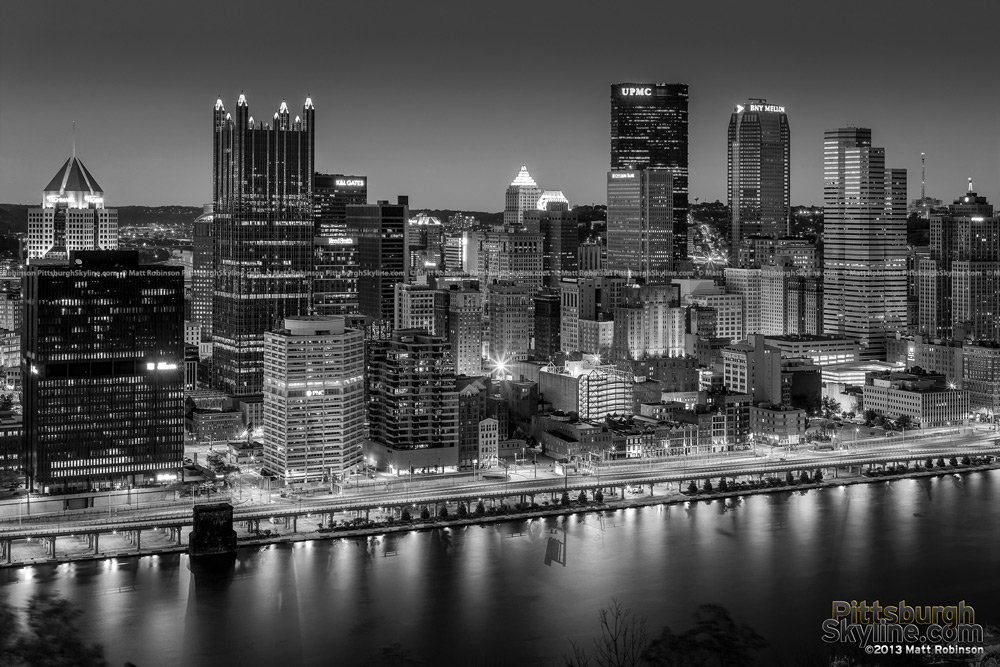 Pittsburgh from Mt. Washington Black and White at night