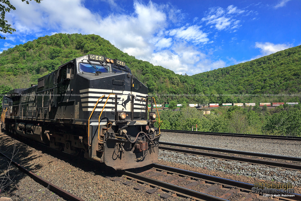 Norfolk Southern train travels around the Horseshoe Curve in Altoona, PA