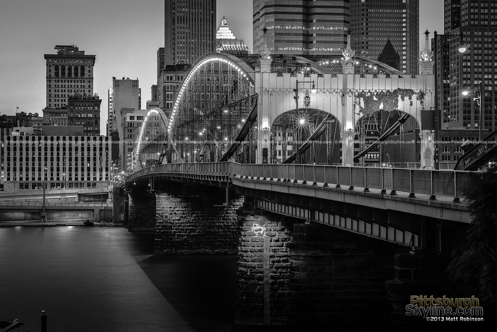 Black and White Pittsburgh Smithfield Street Bridge