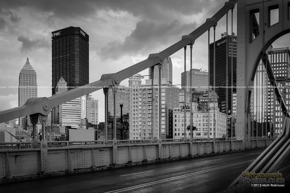 Black and White Pittsburgh with Roberto Clemente Bridge