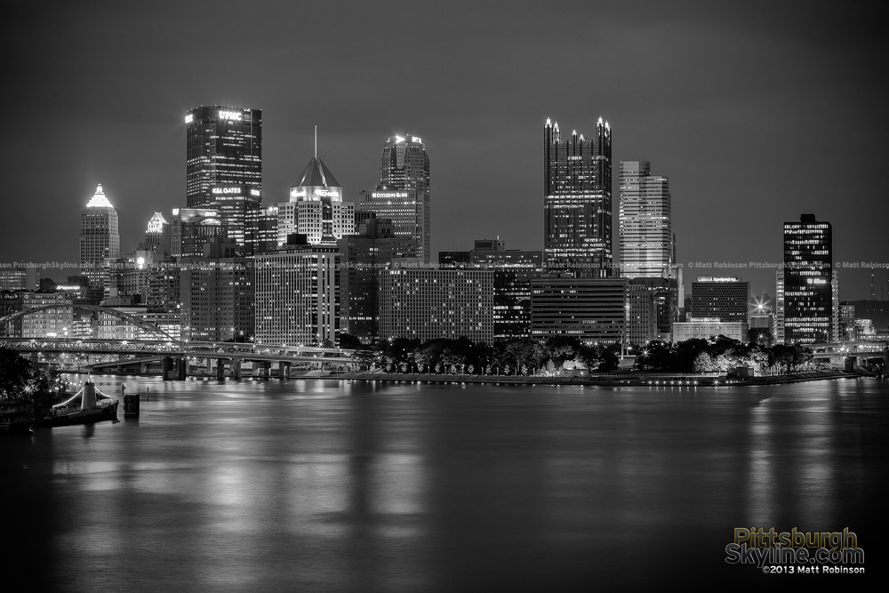 Black and White Pittsburgh Skyline from West End Bridge