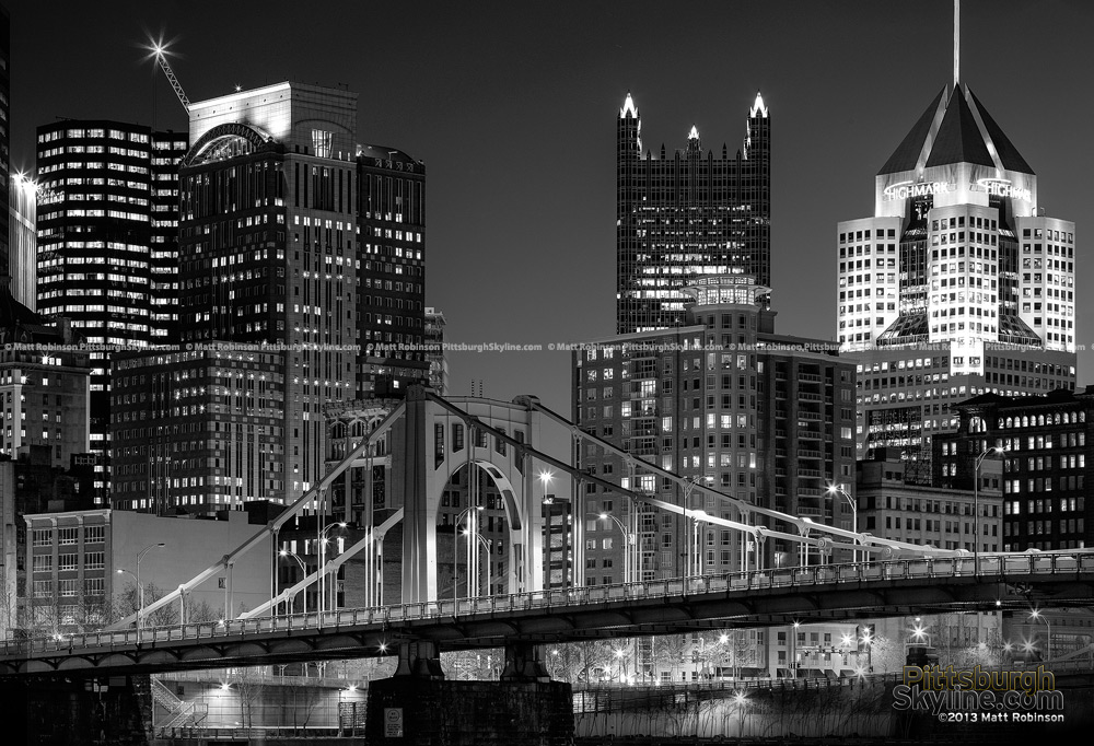 Black and White Pittsburgh Cityscape