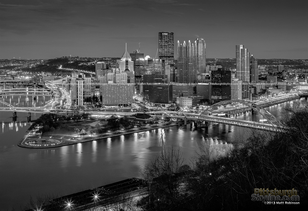 Black and White Pittsburgh Skyline at night from Duquesne Incline