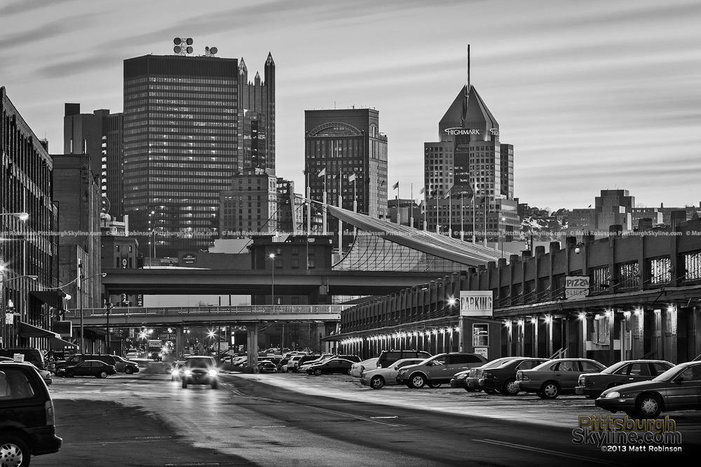Black and White Pittsburgh Skyline from the Strip District