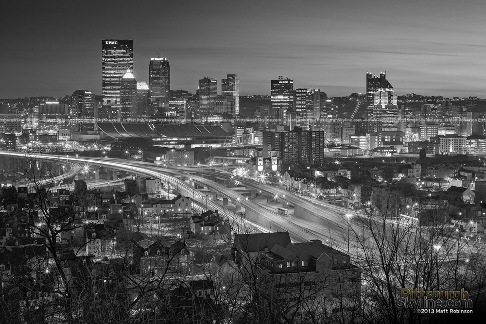 Black and White Pittsburgh Cityscape from Troy Hill