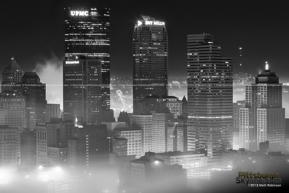 Black and White Pittsburgh Skyline in the fog
