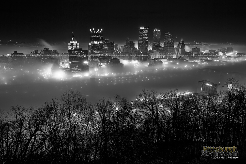 Foggy Black and White Pittsburgh Skyline from Mt. Washington