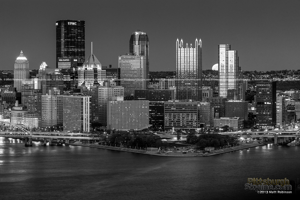 Black and White Pittsburgh Skyline with Moonrise at night