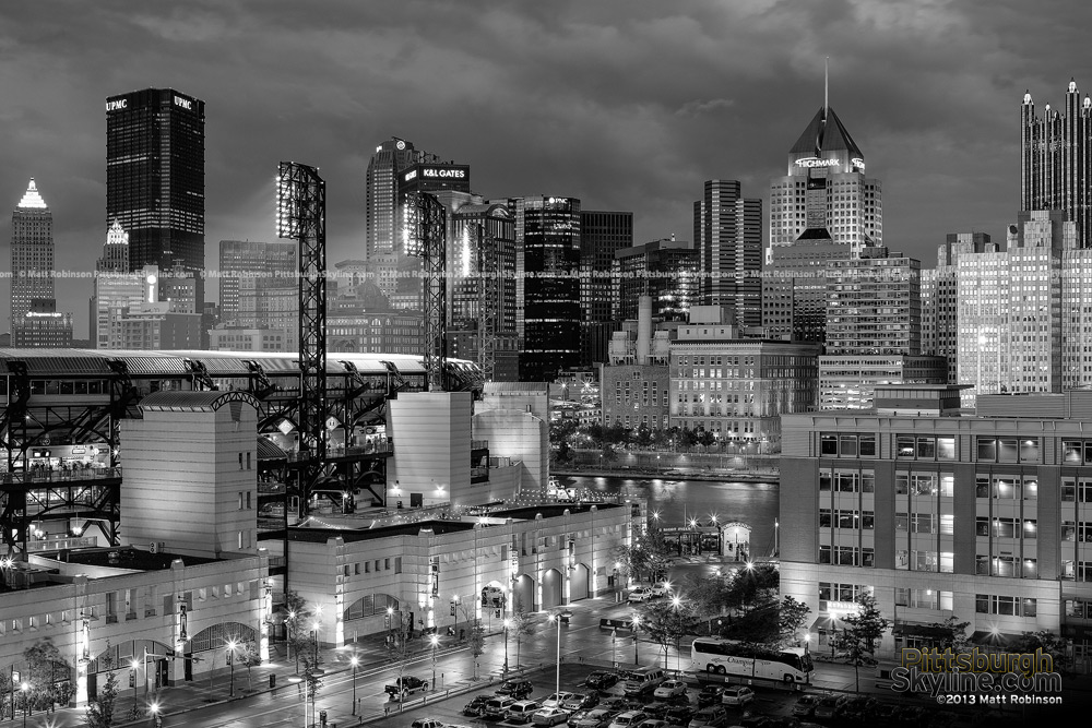 Black and White Pittsburgh from North Shore Garage
