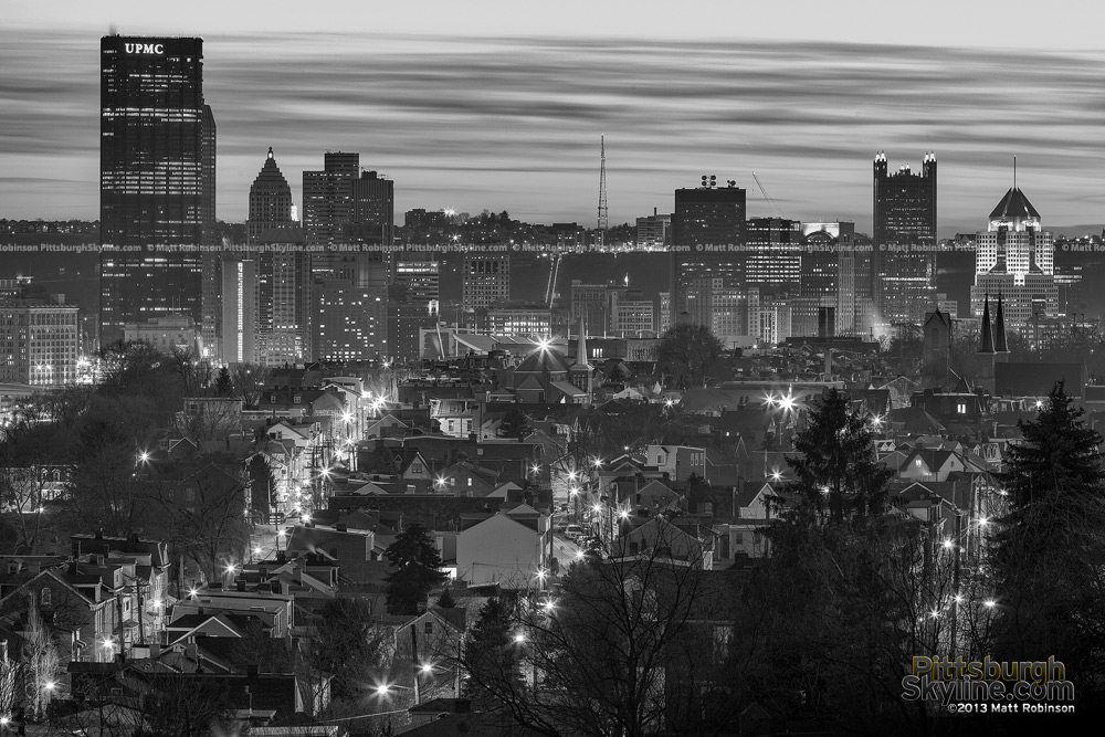 Black and White Pittsburgh with Houses