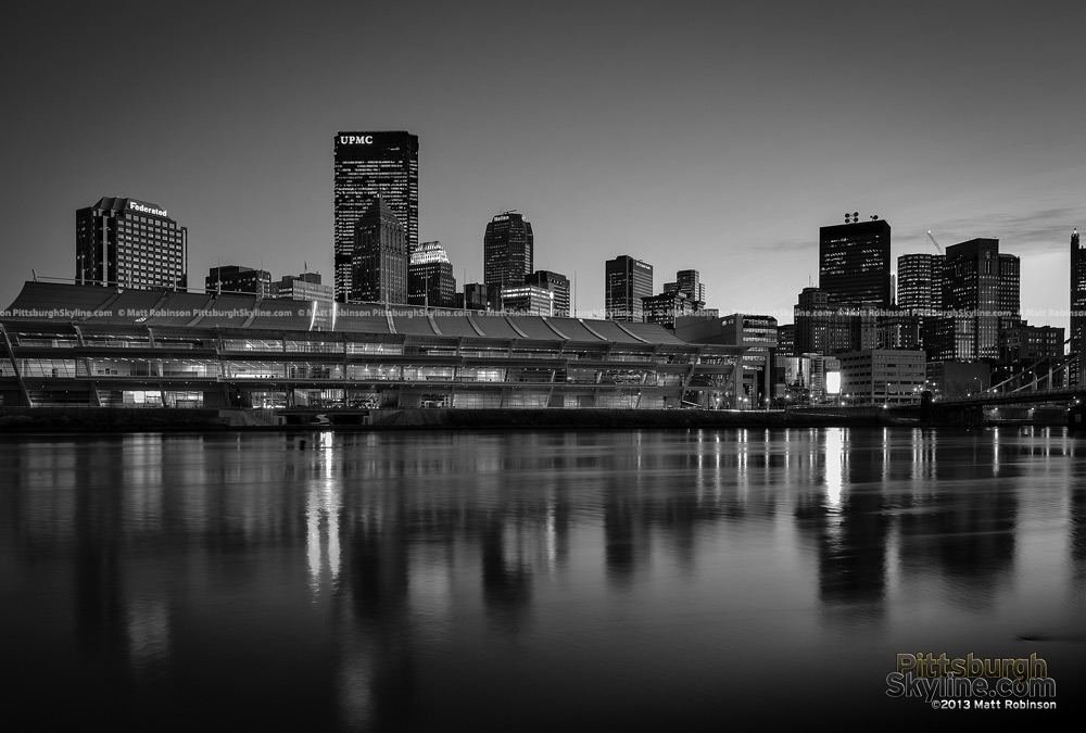 Black and White Allegheny River with Pittsburgh