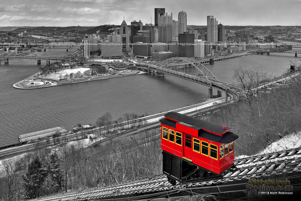 Pittsburgh Black and White with Red Duquesne Incline and snow