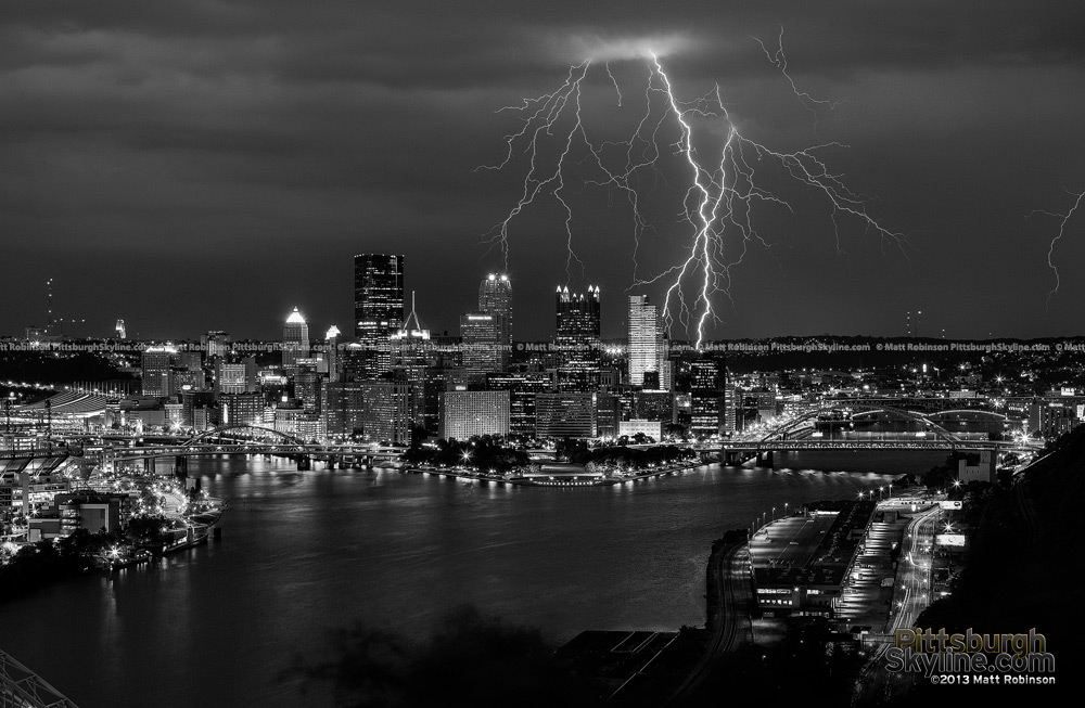 Black and White lightning over Pittsburgh